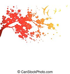 red silhouete, flowers tree , on a white