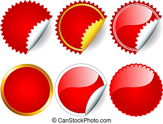 Fun collection of red stickers in different shapes, circle or rosette, with or without border, white, silver and gold, perfect for and retail.