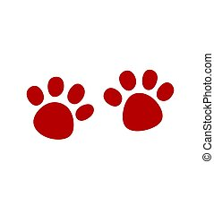 Red Vector Paw Print Silhouette Icon Drawing.
