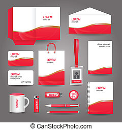 Red wavy abstract business stationery template for corporate identity and branding set vector illustration