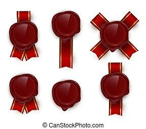 Red wax rero seals color vector illustrations set