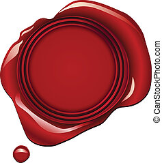 Realistic red wax seal vector illustration - blank space in center for your text or image.