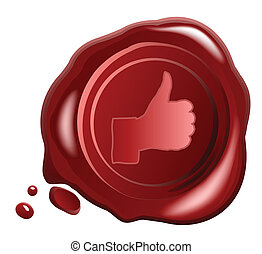 Red wax seal vector with Hand OK sign