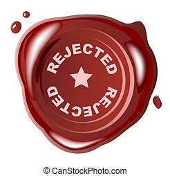 Red wax seal with rejected stamped