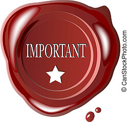 Red wax seal with word important