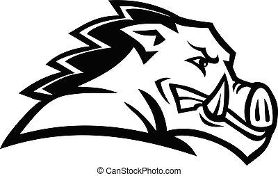 Red Wild Boar or Razorback Head Side View Mascot Black and White