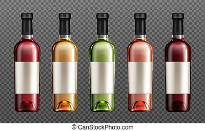Red wine glass bottles with cork blank paper label