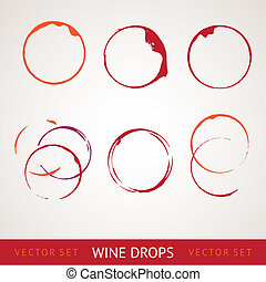 Red wine stain over gray background. Vector Illustration, eps 10, contains transparencies
