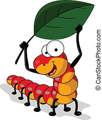 vector illustration of worm cartoon with leaf