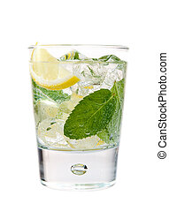 Cold mint and lime drink isolated on white