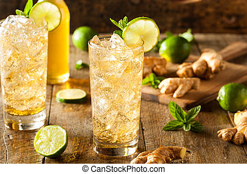 Refreshing Golden Ginger Beer with Lime and Mint