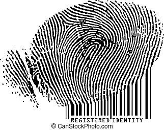 Registered Identity - Fingerprint becoming barcode.