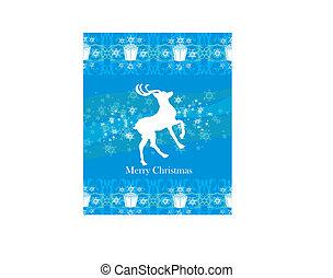 reindeer flying stars. blue background