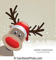reindeer red hat snow snowflake background