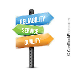 reliability, service and quality sign illustration design over a white background