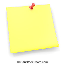 Sticky note with a red semi transparent plastic pushpin.