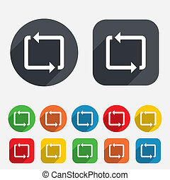 Repeat icon. Loop symbol. Refresh sign. Circles and rounded squares 12 buttons. Vector