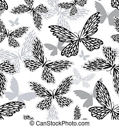 Repeating white-black-grey pattern with silhouettes butterflies (vector)