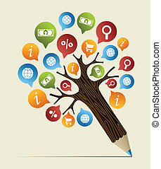 Social college study design pencil tree. Vector illustration layered for easy manipulation and custom coloring.