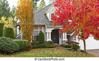 Shot of urban modern home during fall season