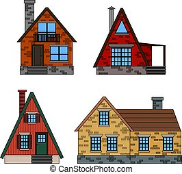 Residential houses icons in trending minimal flat style with lines. A line icon set of colorful houses, cartoon isolated icons