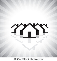 residential real estate or property market icon(symbol) of houses. This vector graphic can also represent construction industry, realty business of buying & selling property, etc