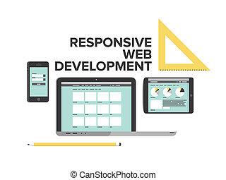 Flat design style modern vector illustration concept of responsive web development service, website optimization layout for laptop computer, mobile phone and digital tablet. Isolated on white background