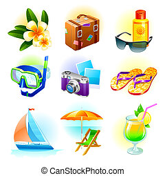 Rest and travel vector set