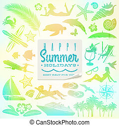 Rest and travel vector set with summer holidays greeting sticker