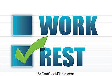 rest over work check mark selection illustration