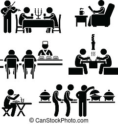A set of stick figure people pictograms representing restaurant and cafes of different types.