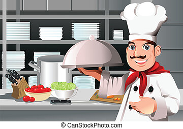 A vector illustration of a restaurant chef holding a plate of food