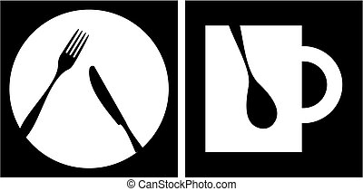 Cutlery icons. White fork, knife, dish, cup and spoon silhouettes on black background with white frame. Vector avaliable