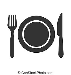 Restaurant icon. Fork, plate and knife