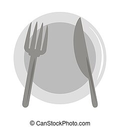 restaurant kitchen dishware plate fork and knife flat icon style