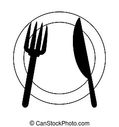 restaurant kitchen dishware plate fork and knife line icon style