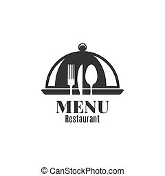 Restaurant menu with fork, knife and spoon.