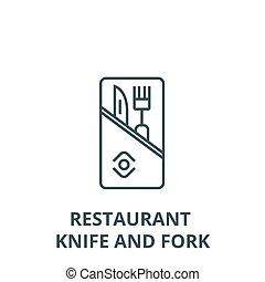 Restaurant service, knife and fork vector line icon, linear concept, outline sign, symbol