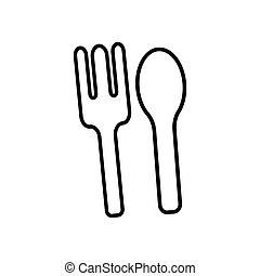 Restaurant symbol, spoon and fork line icon. Design template vector