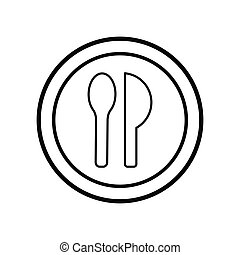 Restaurant symbol, spoon and knife line icon. Design template vector