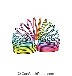 Retro, 90s style rainbow colored plastic spring, spiral toy