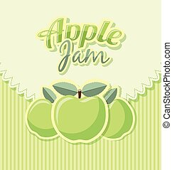 Retro apple jam label with title on striped background