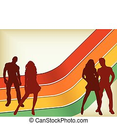 Retro Background with two couples silhouettes