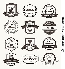 Retro bakery logos, badges and labels