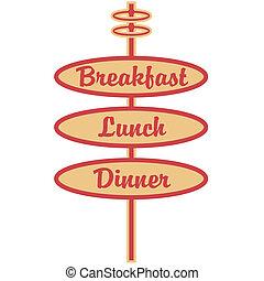 Retro Breakfast Lunch Dinner Sign