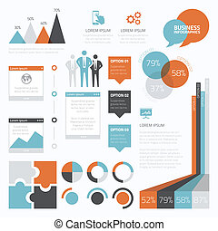 Collection of retro style business infographic elements.