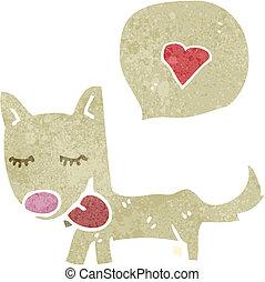 retro cartoon dog with love heart
