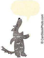 retro cartoon howling wolf