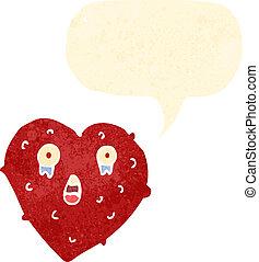 retro cartoon lonely heart with speech bubble