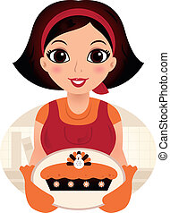 Vintage cooking Woman. Vector Illustration